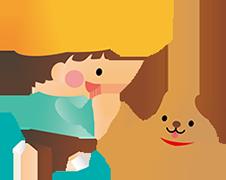 子供と犬のバナー